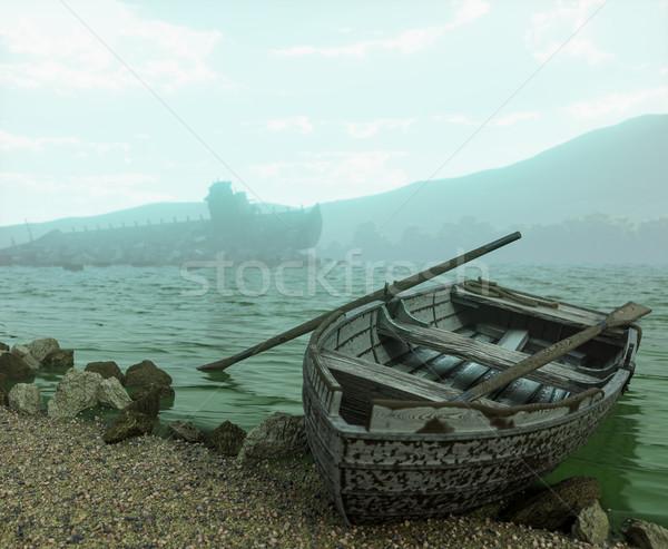 Apocalíptico edad barco playa naturaleza paisaje Foto stock © denisgo