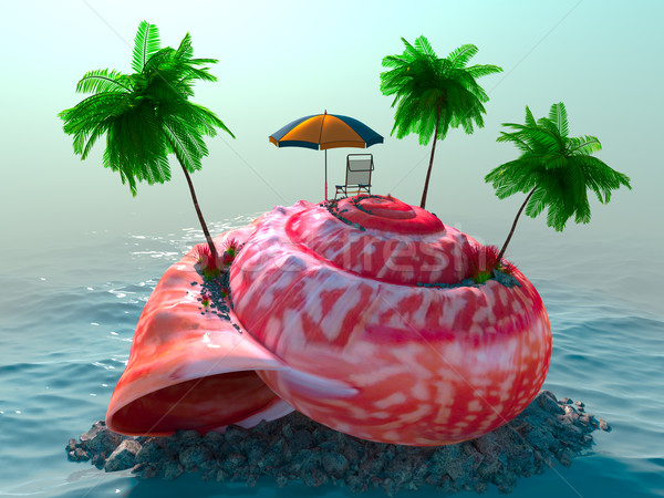 relaxing vacation concept background with seashell, palms, chair and umbrella Stock photo © denisgo