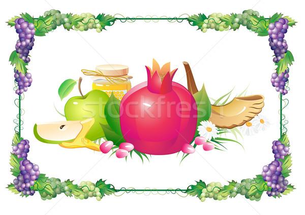 rosh hashana traditional holiday still life, apple, honey and shofar Stock photo © denisgo