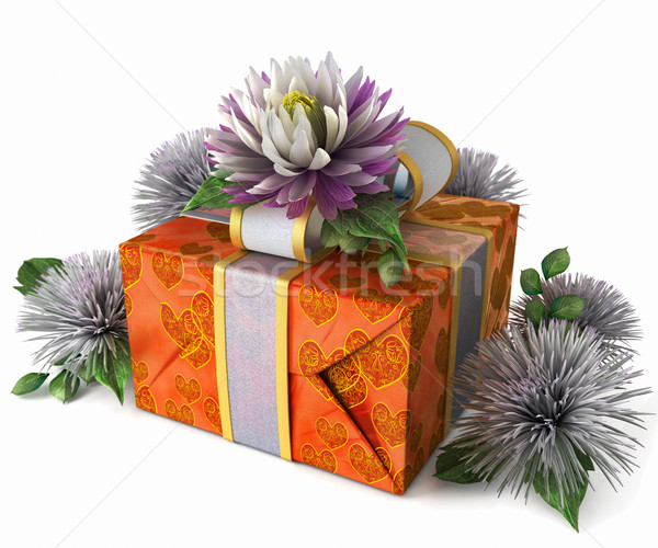 holiday flowers with gift box on isolate white Stock photo © denisgo