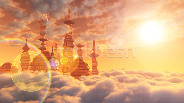 aerial view of Sci Fi City with clouds and sun Stock photo © denisgo