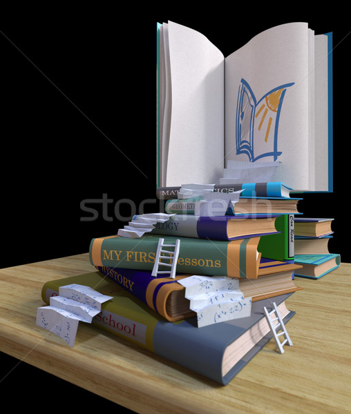studying school books. back to school concept background with stairs Stock photo © denisgo