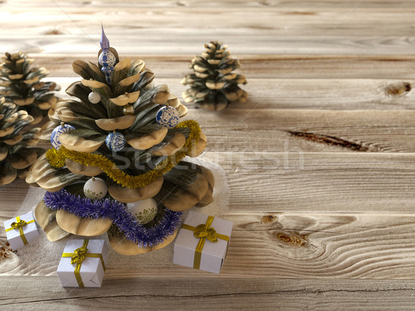 Christmas cone with gifts on wood texture concept holiday background Stock photo © denisgo