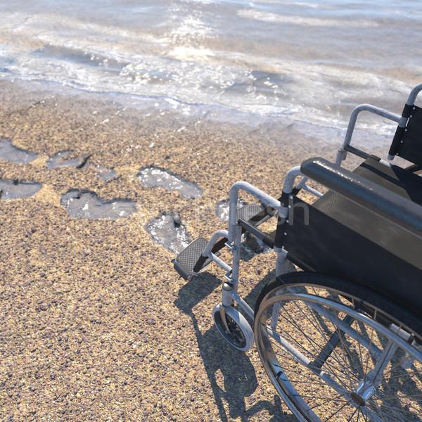 пусто коляске песчаный пляж следов пляж технологий Сток-фото © denisgo