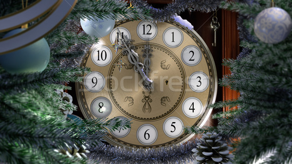 Happy New Year and Merry Christmas background with old clock,decorations, key and snow Stock photo © denisgo