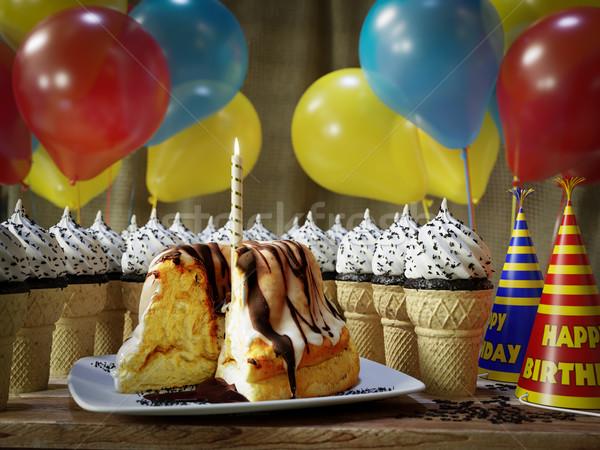 Muchos helado pastel de cumpleanos vintage mesa Foto stock © denisgo