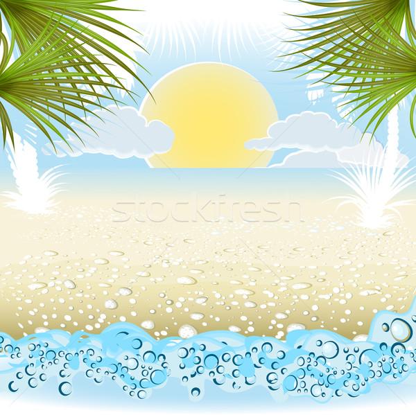 Zomervakantie palm water gelukkig mode Stockfoto © denisgo