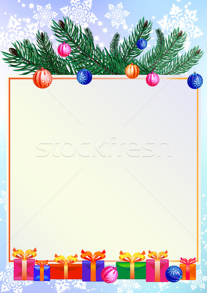 Christmas background with gifts and branch of pine Stock photo © denisgo