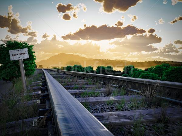 Ferrovia seguir viajar nuvens azul Foto stock © denisgo