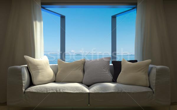 Vacaciones interior elementos playa cielo ventana Foto stock © denisgo