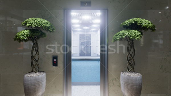 Open and closed chrome metal office building elevator doors concept Stock photo © denisgo