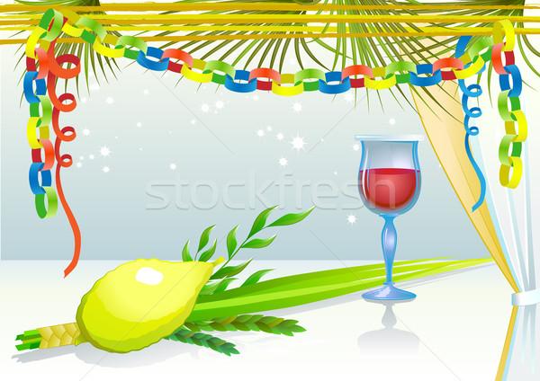 Happy Sukkot with glass of wine Stock photo © denisgo