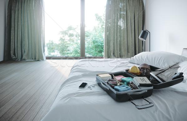 Foto stock: Abierto · viaje · caso · hotel · dormitorio · vacaciones