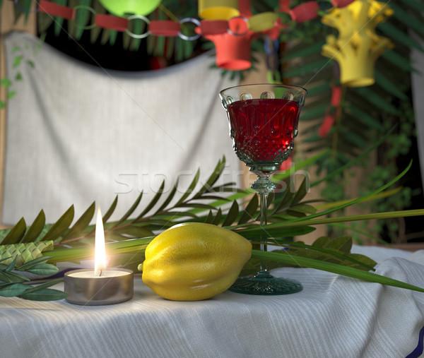 Symbols of the Jewish holiday Sukkot with candle and wine glass Stock photo © denisgo