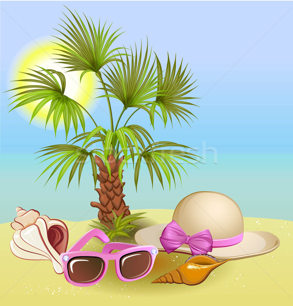 seaside summer holiday background with palm,chair,hat, shells and sunglasses Stock photo © denisgo