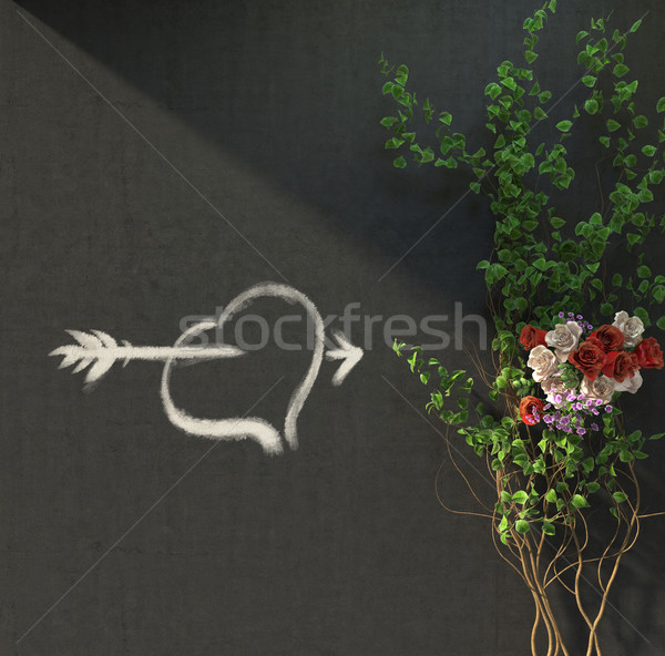 flowers and plants holiday concept with heat picture on wall Stock photo © denisgo