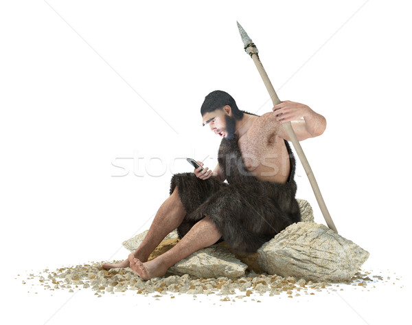 primitive man with smartphone on isolate white concept 3d illustration Stock photo © denisgo
