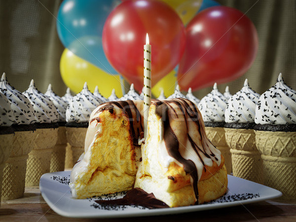 Many ice cream cones and  birthday cake on the wooden vintage table conceptual photo Stock photo © denisgo