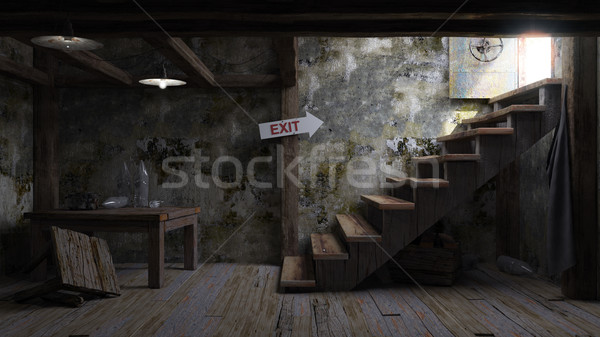 ancient concept room shelter interior with signboard Stock photo © denisgo