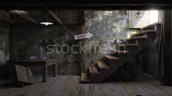 Antigo quarto abrigo interior casa edifício Foto stock © denisgo