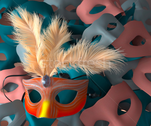 Red carnival mask with feathers and masks on background Stock photo © denisgo