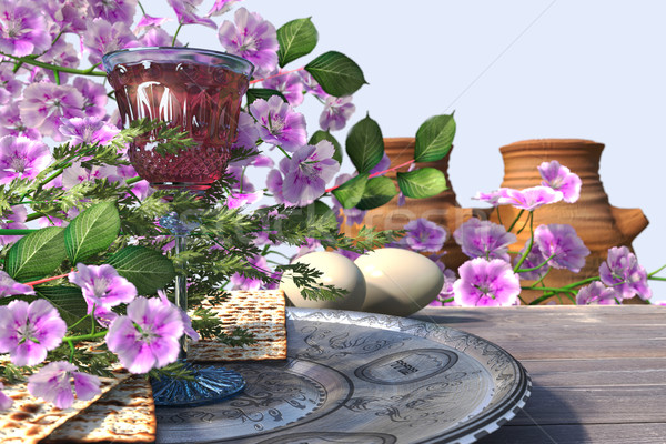 Jewish celebrate pesach passover with eggs, matzo and flowers on nature background Stock photo © denisgo