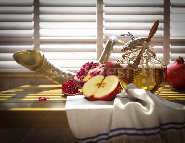 Miel jar manzanas granada religiosas vacaciones Foto stock © denisgo
