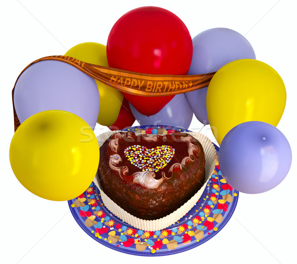 Születésnap dekoratív torta léggömbök ünneplés izolált Stock fotó © denisgo