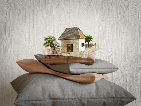 Almohadas colección juguete casa papel textura Foto stock © denisgo