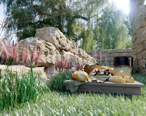 Piknik természet ősi fotó étel fa Stock fotó © denisgo
