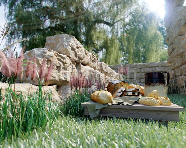 Picnic naturaleza antigua foto alimentos madera Foto stock © denisgo