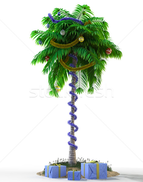 Isolate New Year palm tree with decoration concept holiday element Stock photo © denisgo