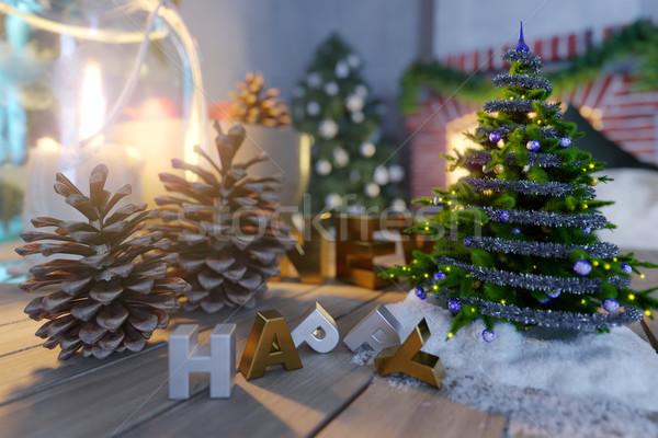 Foto stock: Feliz · año · nuevo · Navidad · primer · plano · foto · flor · madera