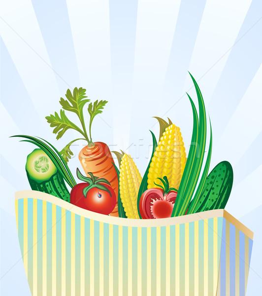 Establecer verduras frescas paquete compras marco verde Foto stock © denisgo