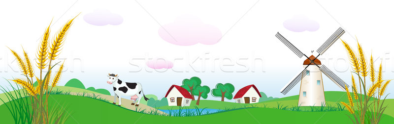 agriculture backdrop with houses, cow and wheat Stock photo © denisgo