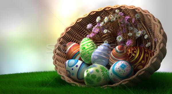 Stok fotoğraf: Dekore · edilmiş · paskalya · yumurtası · bitkiler · çiçekler · bahar · gıda