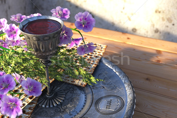 Jewish celebrate pesah passover with matzo and flowers holiday background Stock photo © denisgo