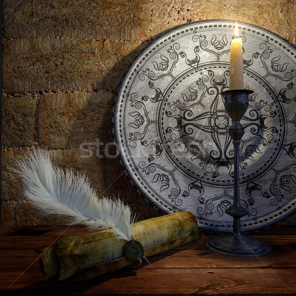 ancient still life with candle and scroll concept background Stock photo © denisgo