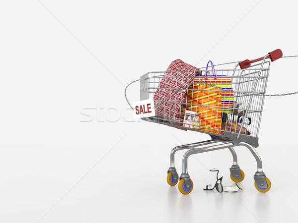 Winkelen verkoop winkelwagen geld gelukkig mode Stockfoto © denisgo