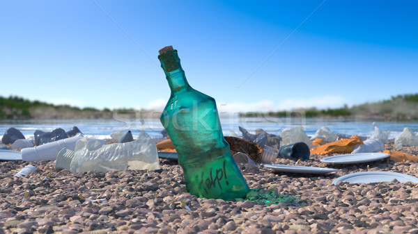 garbage on the sea beach ecologic concept background Stock photo © denisgo