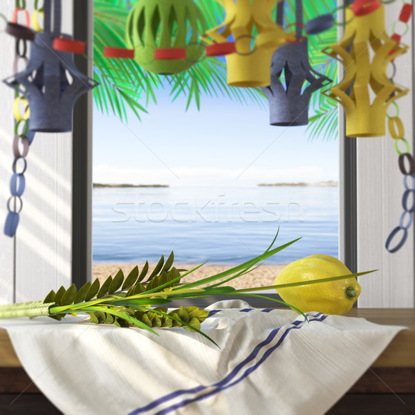 Symbols of the Jewish holiday Sukkot with palm leaves and sea beach Stock photo © denisgo