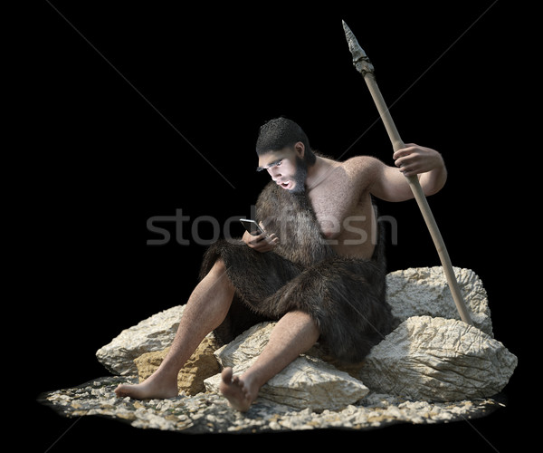 primitive man with smartphone on isolate black concept 3d illustration Stock photo © denisgo