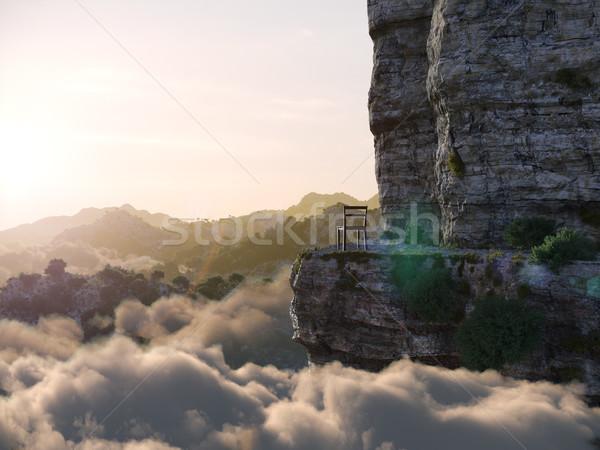 Montanhas rocha cadeira foto árvore Foto stock © denisgo