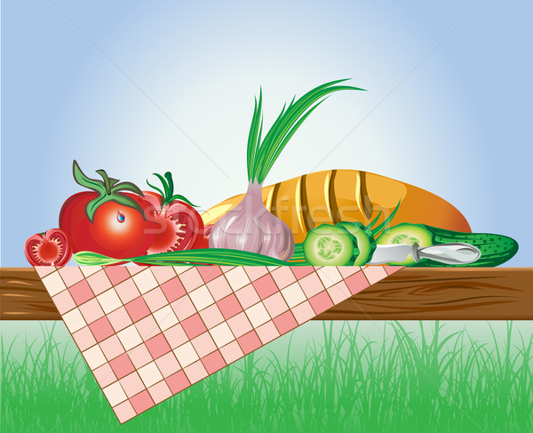 Conjunto legumes pão toalha de mesa natureza compras Foto stock © denisgo