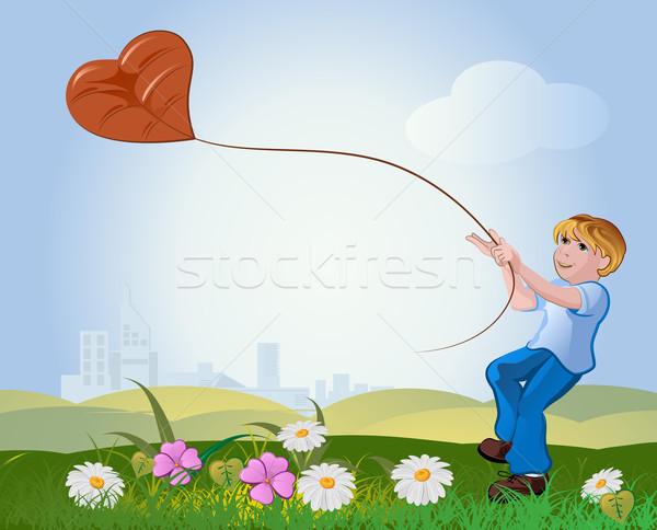 Menino voador pipa natureza amor grama Foto stock © denisgo