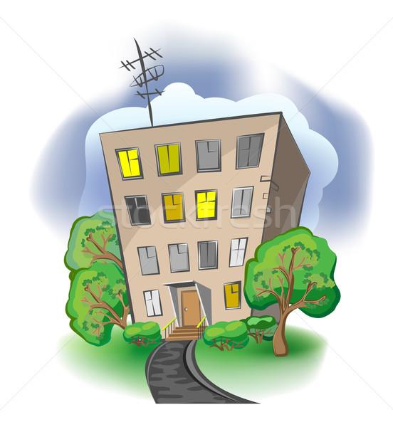 Cartoon casa ciudad construcción calle modelo Foto stock © denisgo