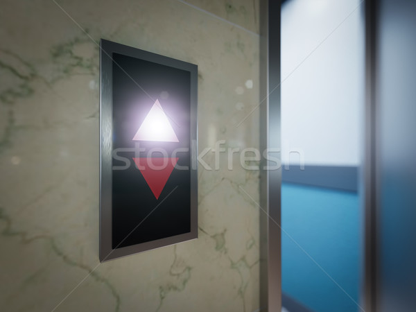 Open and closed chrome metal office building elevator doors concept animation Stock photo © denisgo