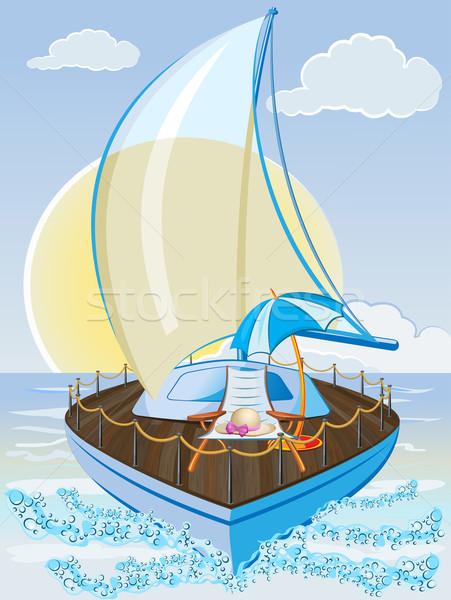 Vacaciones de verano velero silla paraguas playa cielo Foto stock © denisgo