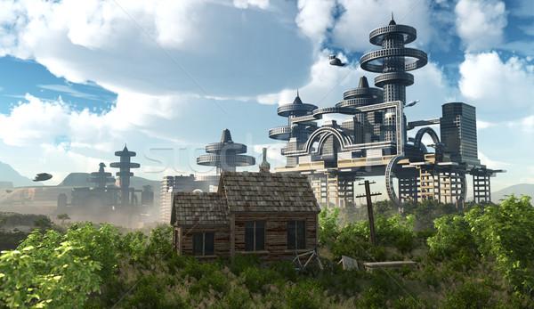 未来的な 市 飛行 古代 家 ストックフォト © denisgo