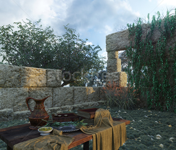 Natura antica rovine libri oliva sfondo Foto d'archivio © denisgo